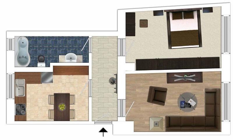 Zweizimmer Renditeobjekt Friedrichshafen Grundriss
